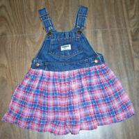 Oshkosh Vestbak Dress Girls size 24 Months Plaid Overall Skirtall Jumper