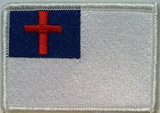 Christian Flag Military Patch With VELCRO® Brand Fastener White  Border #02