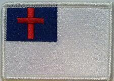 Christian Flag Embroidered Iron-On Patch Biker Cross Emblem White  Border