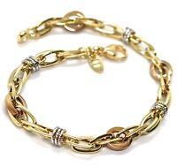 Bracelet en or Rose Jaune et Blanc 18K 750,Tresse,Cercles Alterné,Ngénierie