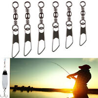 50Pcs Swivel Solid Ring Fishing Pin Line Connector With Interlock Snap Tackles