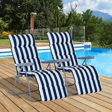 Outsunny Set of 2 Folding Sun Lounger Recliner Chairs Daybed Cushioned
