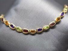 Vintage Citrine Garnet Peridot and Amethyst Link Bracelet 14k Yellow Gold