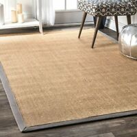 nuLOOM Contemporary Modern Solid Bordered Natural Sisal Area Rug in Tan, Grey