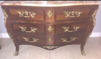 French Bronze & Marble Top-Commode Dresser Chest 6 Drawer