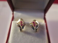 14k yellow gold diamond and ruby earrings (#244)