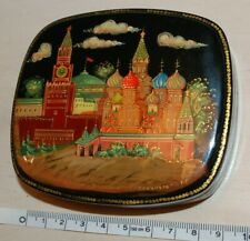 """Original Vintage Russian Laquer Box Mstera """"St.Basil's Cathedral"""". Signed."""