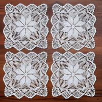 4Pcs/Lot White Vintage Hand Crochet Lace Doilies Square Cotton Table Mats 12inch