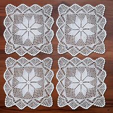 4Pcs/Lot White Vintage Hand Crochet Lace Doilies 12inch Square Table Placemats