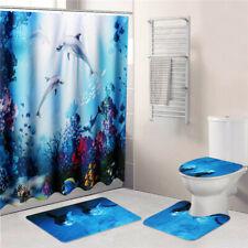 Waterproof Non-Slip Bathroom Shower Curtain Toilet Cover Bath Mat Rug