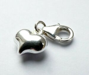 Puffy 3d Heart Clip on Bracelet Charm Sterling Silver 925 Gift Love Valentines