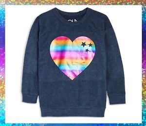 CHASER Girls Rainbow Heart Raglan Pullover Size 12