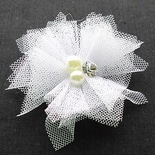Cute 20PCS Mesh Ribbon Flowers Bows W/Beads Rhinstone Appliques Craft  Lots A426