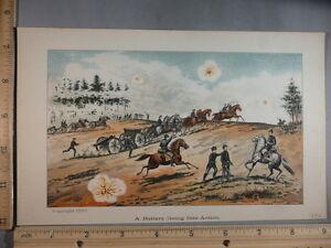 Rare Antique Original VTG 1890 Battery Going Into Action Color Litho Art Print