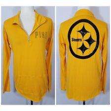 PINK Victoria's Secret Gold Black Sequin 1/4 Zip Pittsburgh Steelers Shirt Small