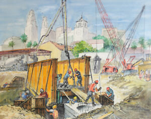 David Rose (American 1911-2006 ) Watercolor painting Los Angeles Metro Red Line