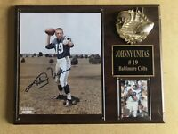 JOHNNY UNITAS Autographed NFL HOF Plaque BALTIMORE COLTS Vintage Original Item