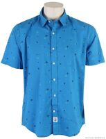 VOLCOM STONE DOTTY SS Blue Short Sleeve Button Up Classic Fit Mens NWT/NEW