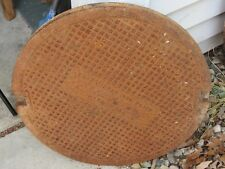 "Antique East Jordan Iron Works Cast Iron Manhole Cover Lid Large 22"" Diameter"