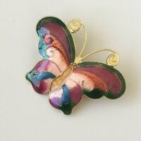 Vintage cloisonne butterfly Cloisonne  brooch pin in enamel on metal