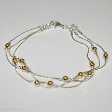925 Sterling Silver & 14kt Gold Filled Beads 3 Strands Two Tone ANKLET Your size
