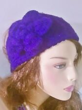 WOMEN FASHION FLOWER PURPLE CROCHET HAND KNIT HEADBAND BOW HAIR BAND