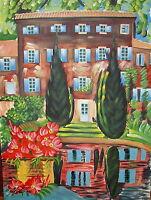 Unframed Original Artist Signed Oil On Canvas Colorful Landscape Painting