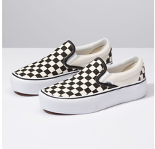 Vans  SLIP-ON  PLATFORM BLACK AND WHITE CHECKER/WHITE  Canvas Classic Shoes