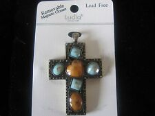 "Large 2-1/4""  Magnetic Cross Pendant with 6 Stones clip on pocket or a Necklace"
