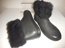 Flat Black Leather Ankle Boots Size 8 Wide ( EEE )New From Evans RRP £58