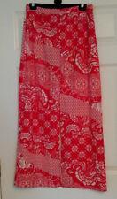 River Island Red Floral Middle Slit Split Maxi Skirt Sz 14 Summer Holiday