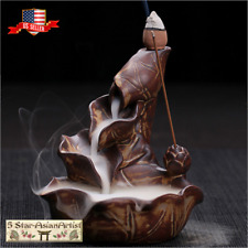 Ceramic Backflow Incense Burner Holder Lotus Waterfall 027 With Incense Gift
