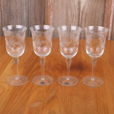 4 Etched Flower Pattern Clear Glass Goblets Wine Cup Avrig Romania