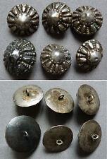 Lot de 6 boutons bosse anciens en ARGENT bijou regional button