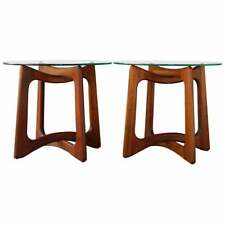 Pair (2) Vintage MCM Modern Adrian Pearsall Glass Black Walnut Side End Tables