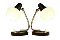 Nachttisch Lampen Paar Messing & Schwarz Lese Leuchten Vintage Nightstand 50er