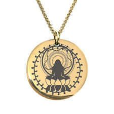 Mandala Meditation Lotus Flower Laser Engraved Necklace Gold Plated