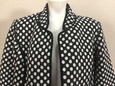 Chicos Soft Fleece Like Black White Polka Dot Coat Jacket Top Womens Sz 2