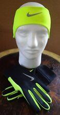 Nike Men's Running Thermal Headband Glove Set Black/Volt/Silver Medium New