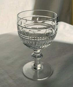 Webb Corbett crystal cut wine glass. Vertical  Lines and Thumbprints.1950s