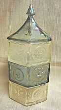 RARE 3-Section Stacking Glass Candy Jar w/Lid - Early American Style - Two-Tone