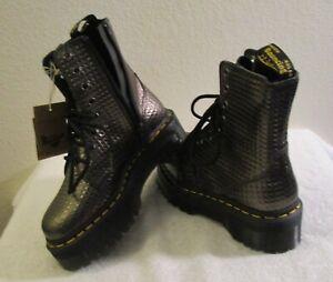 NWT Dr Martens Jadon Womens Stud Embossed Platform Boots 5 Gunmetal MSRP$180