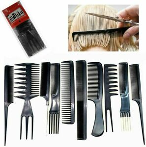 10 PCS HAIR STYLING COMB SET PROFESSIONAL BLACK HAIRDRESSING BRUSH BARBERS COMBS