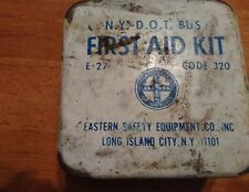 Vintage ~ First-Aid Kit New York Bus Department Of Transportation ~ White Metal