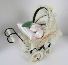 """Vintage Doll Wooden Metal Carriage Buggy 11"""" w/vtg Cornerstone Creations Doll"""