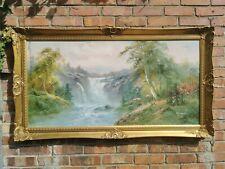 Huge Vtg Original Landscape  Oil Painting in an Ornate Baroque Gold Gilt Frame.