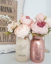 Painted Pale Cream & Metallic Rose Gold Mason Jars set of  2