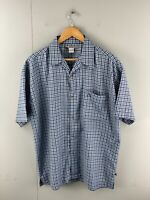 Rusty Men's Short Sleeved Button Up Shirt Size L Blue Check