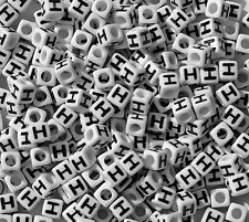 Letter H - 100pc 7mm Alphabet Beads White with Glossy Black Letters