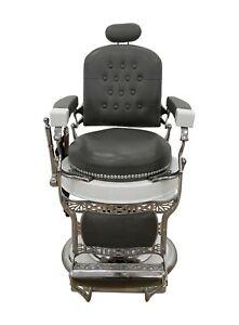 Restored 1930s Koken Gray & White Barber Chair with Razor Sharpening Strip